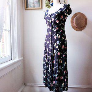 Vintage 80s / 90s floral button front midi dress
